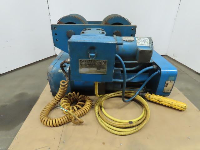 Shaw Box 8DL05020S08 3-1/2 Ton Wire Rope Electric Hoist 21' Lift 9FPM 460V 3Ph