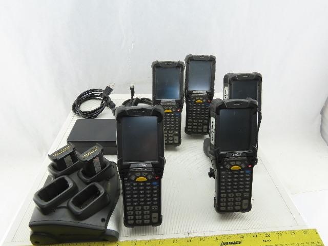 Symbol Motorola MC9090-GJ0HJEFAGWR Barcode Scanner Batteries & Charger Lot of 5