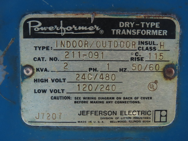 Jefferson Electric 211-091 2KVA Dry Type Transformer 240/480HV 120/240LV on transformer vector diagrams, ceiling fans diagrams, transformer connection diagrams, transformer winding diagrams, transformer schematic diagram, transformer grounding, transformer types, transformer blueprints, transformer hook up diagrams, led circuit diagrams, transformer fuse sizing, transformer electrical, transformer formulas, three-phase transformer diagrams, transformer phase displacement diagrams, 3 phase motor control diagrams, transformer single line diagram, transformer installation, transformer design diagrams, transformer equations,