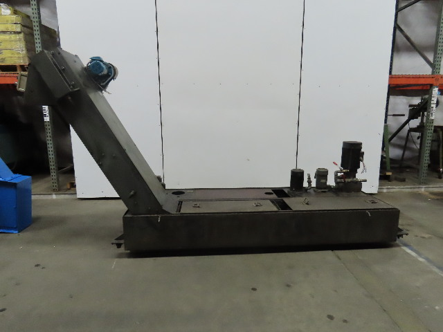"13""x120"" Incline Chip Conveyor Coolant Recovery 51"" Disc 4FPM w/Coolant Pumps"