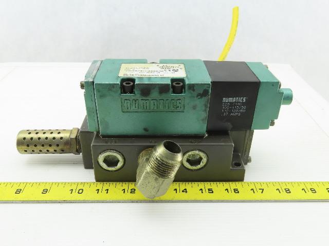 Numatics 555SA431K000030 110-120V 150PSI 4/2 Position Solenoid Valve On Manifold