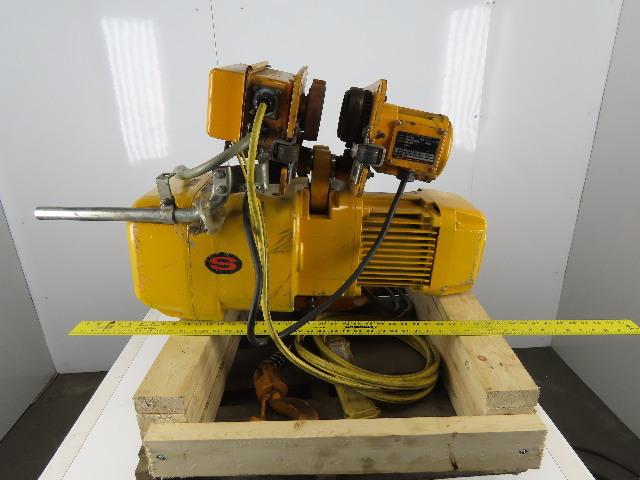 Harrington NER020S 2 Ton Chain Hoist 18'Lift 28FPM 208-230V Powered Beam Trolley