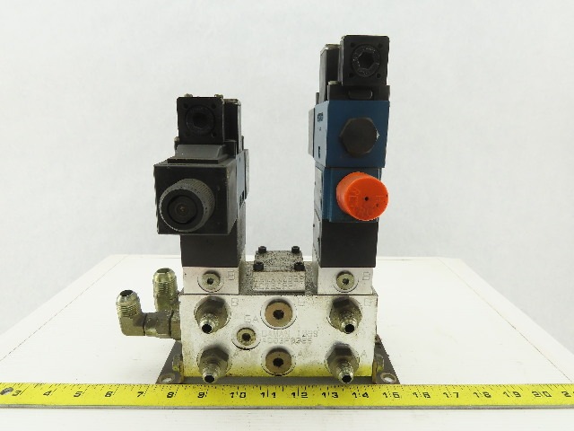Rexroth 4WE6C61/0FEW110N 4/2 Way Hydraulic Check Manifold Assembly 120V Coil