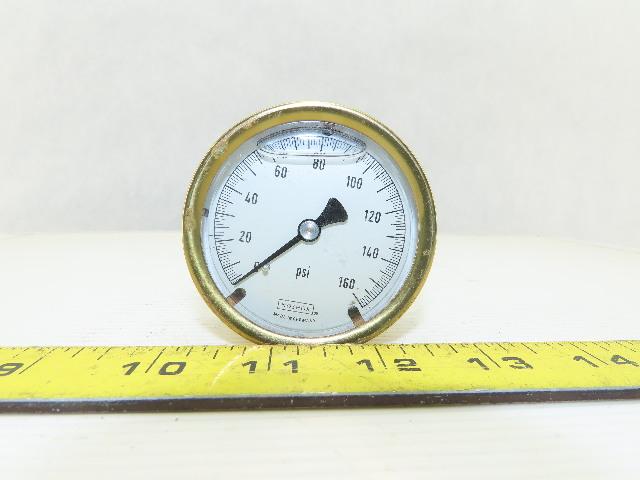 "Noshok 2"" Brass Liquid Filled Pressure Gauge 0-160 PSI 1/4"" NPT Back Mount"