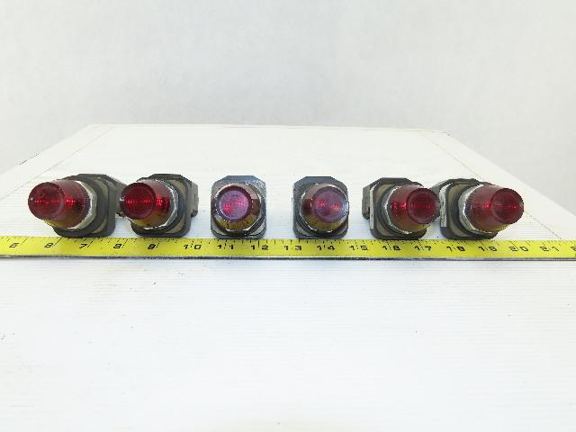 Allen Bradley 800T-P16 RED Pilot Light 120V Lamp # 755 Red Lens Ser t Lot Of 6