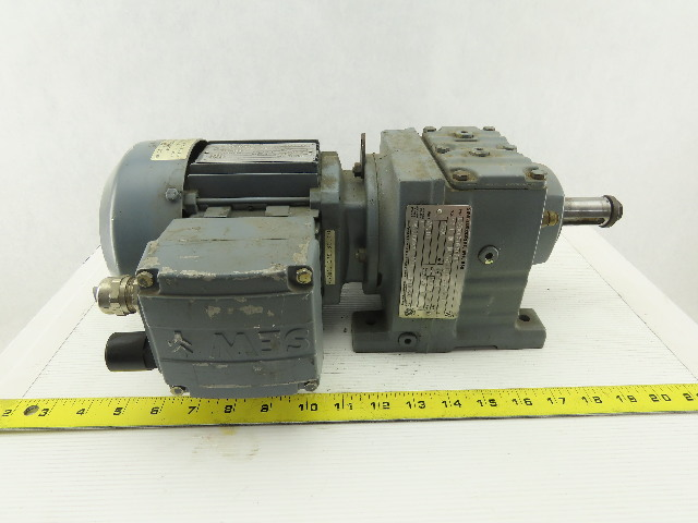 Sew Eurodrive R37DT71C4TFIS 1/3HP Motor 230/460V 3Ph W/44.81:1 Inline Gearbox