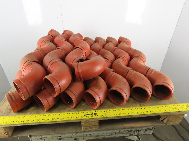"Grinnell 21040S 4"" Orange Grooved Ductile Iron GRVLK 7050 90° Elbow Lot Of 49"