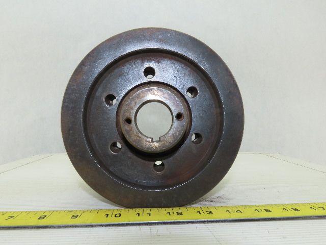 """6-3/8"""" OD x 4-1/2"""" Wide 9 Groove 3V Section Pulley Sheave 1-1/4"""" Bore"""