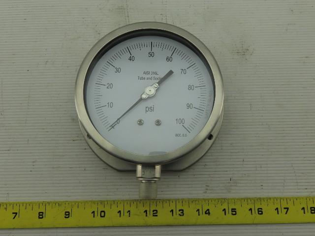 "Grainger 11A528 Pressure Gauge  0 to 100 psi Range  1/4"" NPT"