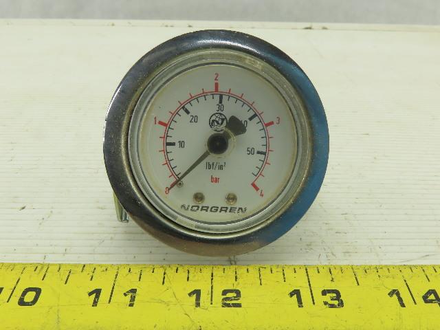 Norgren 0-4 Bar 0-60 lbf/in2 Panel Mount Pressure Gauge