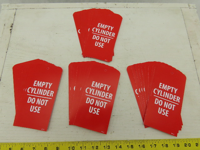 """Red Plastic Tag Empty Cylinder Do Not Use 6""""x3"""" 2 Sides Lot of 40"""