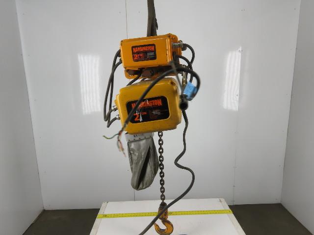 Harrington NER020S 2 Ton Chain Hoist 11' Lift 28FPM 208-230/460V Powered Trolley