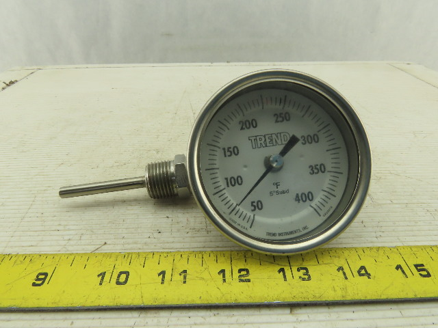 "Trend Instruments CR3207B 50-400°F Dial Temperature Gauge 3/8"" NPT"