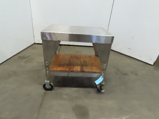 """27-1/2""""x18"""" Stainless Steel Rolling Cart 29"""" High Adjustable 400lb Capacity"""