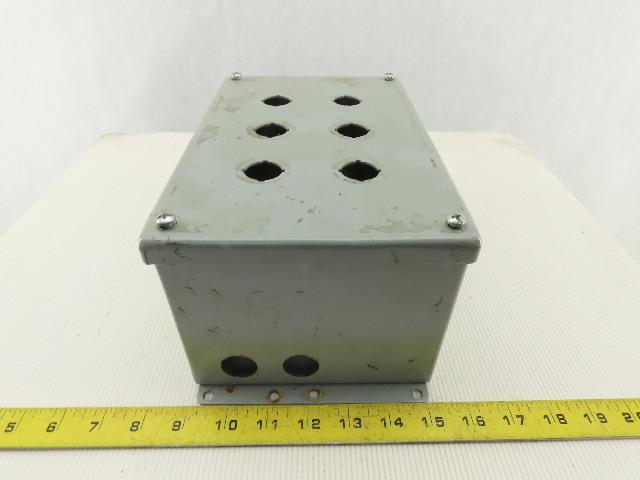 "Hoffman E6PBXM 6 Hole Wall mount Electrical Enclosure 9-1/2""x6""x4-1/2"""