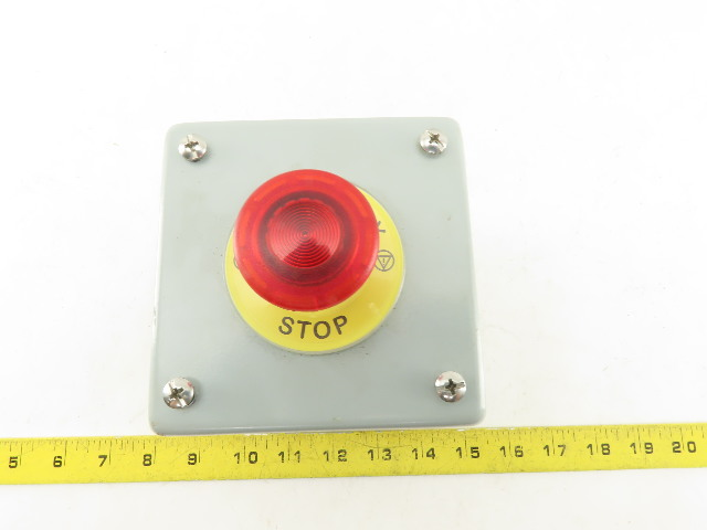 "Hoffman E1PBX Pushbutton Enclosure 4""x 4""x4-3/4"" W/Illuminated E-Stop BZBE-203"