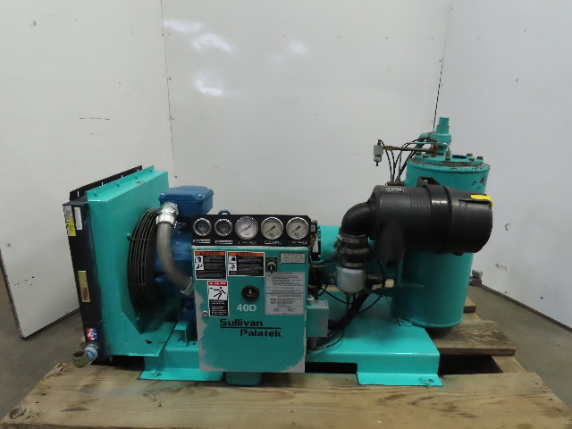 Sullivan Palatek 40D 40Hp Rotary Screw Air Compressor 166CFM 460V 3Ph 11,880 Hrs