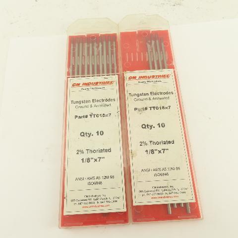 "CM Industries TT018x7 1/8"" TIG Welding Tungsten Electrode 7"" Lot Of 14"