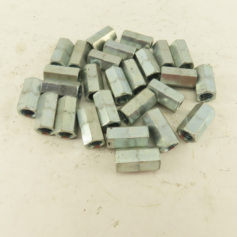 """3/8""""-16 x 1"""" Wide Full Thread Rod Coupling Hex Nut Lot Of 27"""