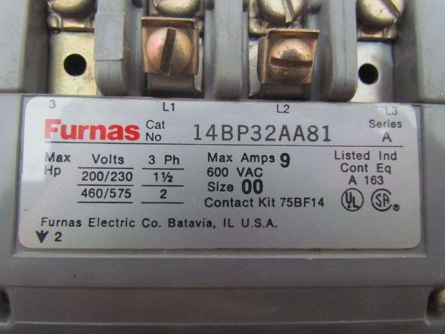 Furnas 14BP32AA Motor Starter Contactor Size 00 Contaact Kit 75BF14