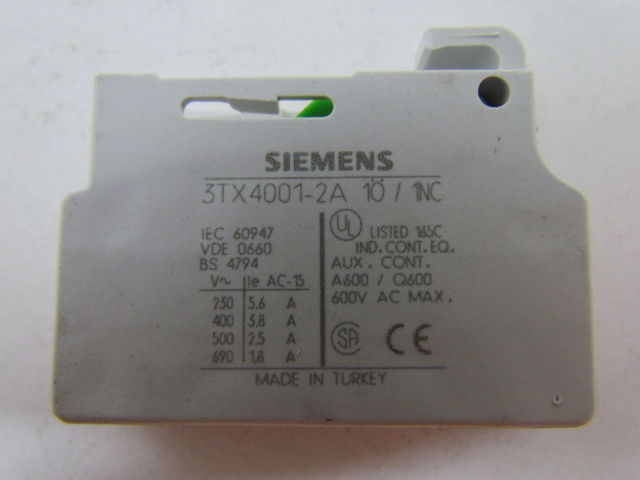 SIEMENS AUXILIARY CONTACT BLOCK 3TX4001-2A