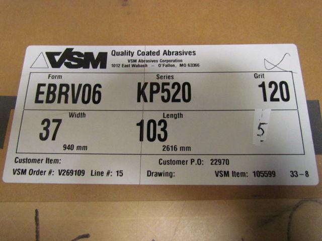 "VSM Abrasives Wide Sandpaper Sanding Belts 120 Grit Vitex Paper 5pcs 37x103/"""