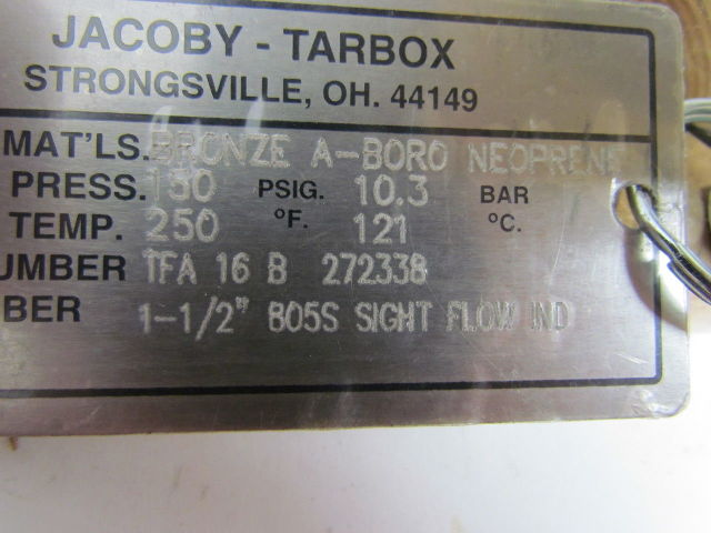 "Jacoby-Tarbox 805S Bronze Tube Sight Glass Flow Indicator 1-1//2/"" NPT 150 PSI NOS"