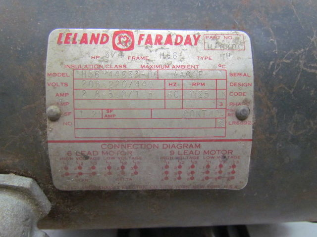 details about leland faraday h56 44833 00 3ph 3 4hp electric motor 1725 rpm 208 220 440v h56 Leland Faraday Electric Company