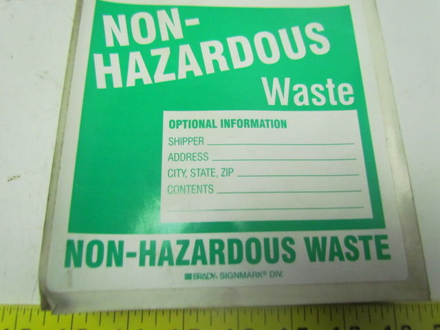 Brady 60453 Non Hazardous Waste Label 6 Quot X 6 Quot Vinyl Safety