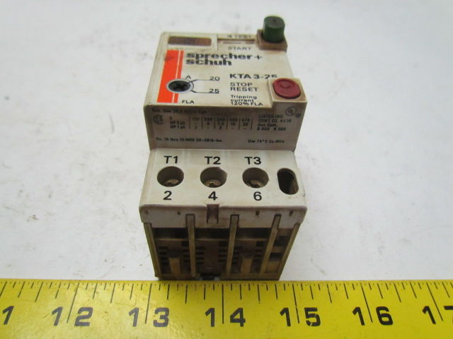 WARRANTY Used KTA3-25 0.40 to 0.63 Amp Sprecher Schuh Manual Starter