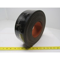 """Black 4 ply smooth top conveyor belt 15' x 3-1/8"""" 0.250"""" thick"""