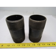 "2-1/2"" NPT Standard-Wall Threaded Both Ends Black Pipe Nipple 5"" OAL Lot of 2"