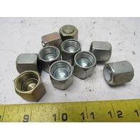 """Hydraulic Fitting 2pc Nut & Cap 1/2"""" -8 JIC (3/4-16 Thread ) Lot of 10"""