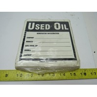 "Brady 60367 Hazardous Waste Labels, 6"" x 6""  Legend ""Used Oil"" Package of 100"