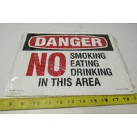 "Lab Safety Supply Danger No Smoking Eating in This Area 9"" X 12"" Vinyl Sign"