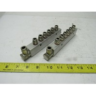 "6 Port Pneumatic Aluminum Inline Manifold W/1/4"" Push Quick Fittings Lot of 2"