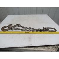 "Branches 2 Leg 3/8"" X 2' Chain Sling WLL12300 Grade 800 W/Foundry Hooks"