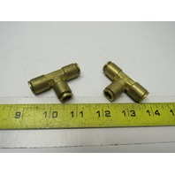 "3/8""x 3/8""x3/8"" Tube/Hose Push-to-Connect Brass Union Tee Fitting Lot of 2"