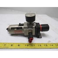 "SMC AW30-N03-Z Pneumatic Inline Filter Regulator 0-160PSI 3/8"" Ports Push Drain"