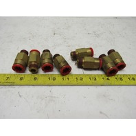 """Nycoil 1/2"""" Tube Push To Connect x 3/8 NPT Brass Straight Fitting Lot Of 8"""