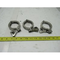 "Waukesha Cherry-Burrell 2"" Stainless Steel Split Hinge Sanitary Clamp Lot Of 3"