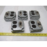 Electrical Box Steel Square 4x4x2 W/Cover Recept. & Single Pole Switch Lot of 5
