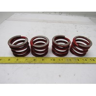 "Red Die Springs 1-53-64"" Tall 1.700Bore 5/16"" Wire Thickness Lot Of 4"