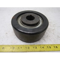 "5-1/2"" OD x 2-1/4"" Crowned Face End Pulley 1-1/4"" Keyed Bore"