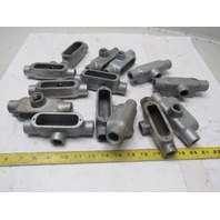 """1/2"""" T  Malleable Iron Conduit Body Mixed Makers  Lot of 14"""