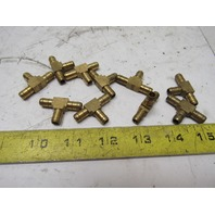 "1/4"" x 1/4"" x 1/4"" ID Hose Barb Brass Tee Lot Of 10"