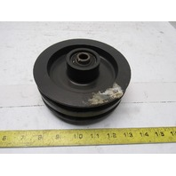 """Dematic H001272AAA 5.870""""OD Double V-Groove Idler Pulley A B Belt 1/2"""" Bore"""