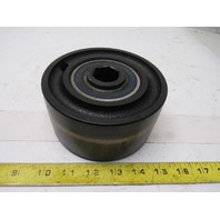"5-1/2"" OD x 2-1/8"" Face Width Crowned Flat Belt Conveyor Pulley 1-1/8"" Hex Axle"