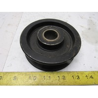 "4-1/2"" OD Cast Iron Flat 1"" Belt Idler Tensioner Sheave Pulley 1"" Bearing Bore"