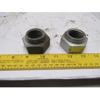 "Plated 1-1/8""-7 Crimp Lock Nut 1-7/8 Across Hex Lot of 2"